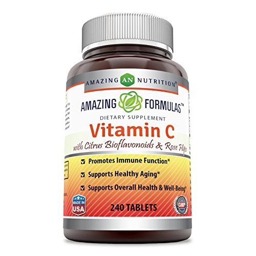Amazing Formulas Vitamin C with rose hips and citrus bioflavonoids – 240 Tablets- Non-GMO, Vegan - Promotes Immune Function* - Supports Healthy Aging* - Supports Overall Health & Well-Being* (Rose Formula)