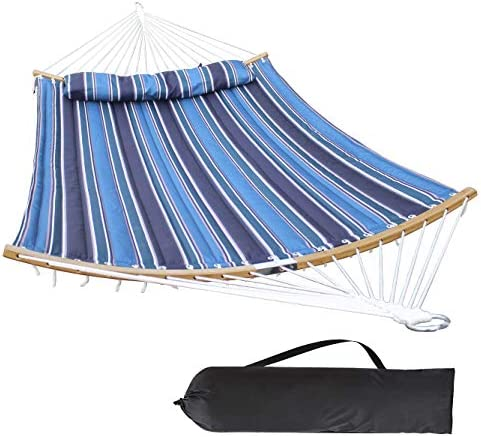 HENG FENG 2 Person Double Hammock Quilted FabricDetachable Pillow and Curved Bamboo Spreader Bars Blue Stripe