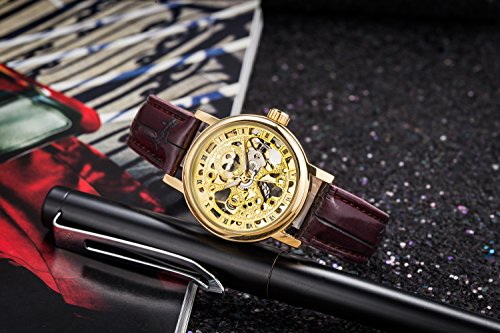 Gute Golden Steampunk Hand-Wind Mechanical Watch Ladies Skeleton Wristwatch Dark Brown PU Band 4