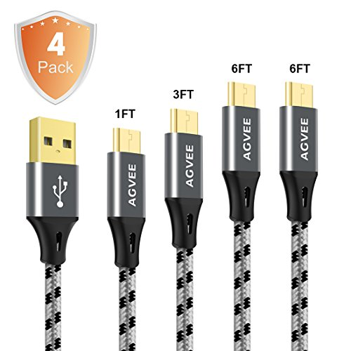 3A Current Heavy Duty, Agvee 4 Pack 1Ft 3Ft 6Ft / 2m Micro USB Cable Set Nylon Braided, Usb 2.0 Fast Charging Long Data Sync Cord for Wireless Charger Android Samsung Galaxy S7 Edge S6 S5 S4 J7 Note 5