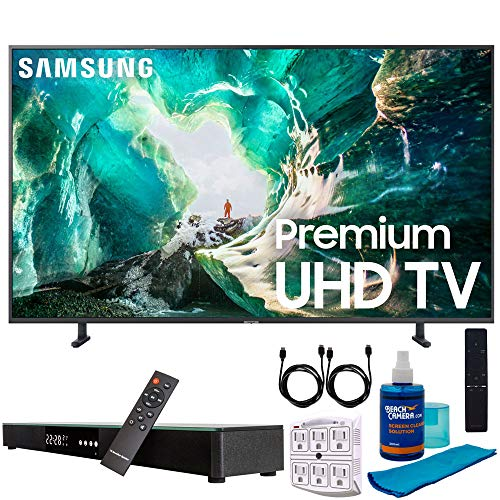 Samsung UN75RU8000 75″ RU8000 LED Smart 4K UHD TV (2019) w/Soundbar Bundle Includes, Deco Gear Home Theater Surround Sound 31″ Soundbar, Screen Cleaner, 2X HDMI Cable and 6-Outlet Surge Adapter