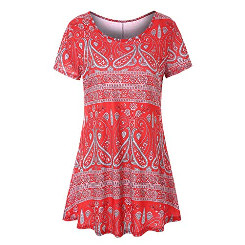 (vermers Clearance Sale Womens Long Short Sleeve O Neck Floral Dresses Ladies Summer Casual T Shirts Tops(XL,)