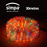simpa Multi Function Clear Rope Lights - MULTI COLOUR - 30M Lighted Length / 2M Lead Cable - 720 Bulbs / 8 Functions - Suitable for Indoor & Outdoor Use.