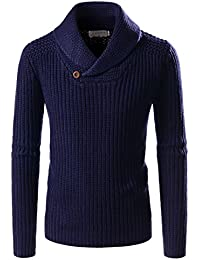Mens Ribbed Wool Blend Pullover Shawl Collar Knitted Sweaters