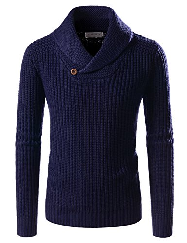 NEARKIN (NKNKKN701) Mens Ribbed Wool Blend Pullover Shawl Collar Knitted Sweaters NAVY US XXXL(Tag size 3XL)