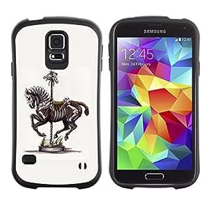 LASTONE PHONE CASE / Suave Silicona Caso Carcasa de Caucho Funda para Samsung Galaxy S5 SM-G900 / Horse Skeleton Vintage Art Painting
