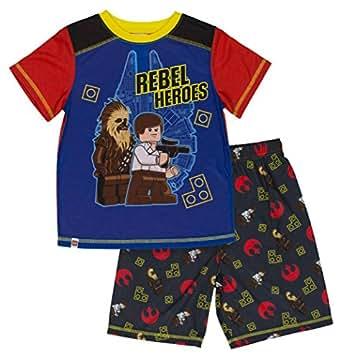 LEGO Star Wars Big Boys' Rebel Hero 2-Piece Pajama Short Set, Blkorg, 4/5