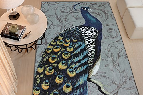 Fun Peacock Print Area Rug
