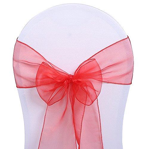 Surmente 10PCS Organza Chair Sashes Bow Sash for Weddings, Banquets, or Restaurants Reception Banquet Decoration Chair Cover Sash 7 X 104 Inches (Red)