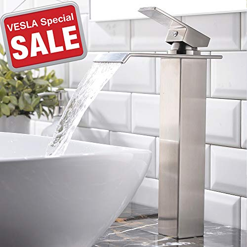 - VESLA HOME VEFJBF017L-1 One Hole Single Handle Waterfall Brushed Nickel, Bathroom Sink Vessel Faucet Lavatory Mixer Tap, 2