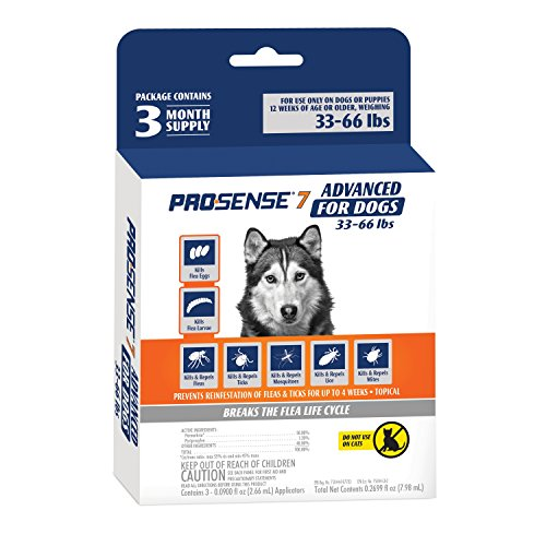 Heartworm Control (ProSense 7 Flea & Tick Prevention and Control for Dogs 33-66 lb - 3 Month Supply)