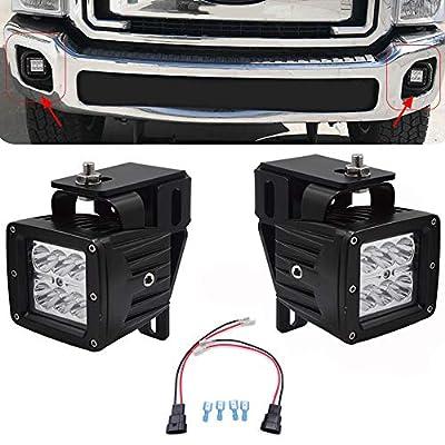 2x 3 Inch 18W LED Fog Light Pod W/Plug Wiring Kit & Hidden Bumper Replace Fog Lamp Mounting Brackets for 1999-2016 Ford F250 F350 F450 Super Duty & 2000-2005 Ford Excursion: Automotive