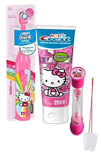 """Hello Kitty Inspired 3pc Bright Smile Oral Hygiene Set! Turbo Spin Toothbrush, Toothpaste & Brushing Timer! Plus Bonus """"Remember to Brush"""" Visual Aid!"""
