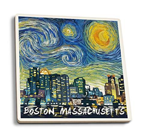 Lantern Press Boston, Massachusetts - Skyline - Van Gogh Starry Night (Set of 4 Ceramic Coasters - Cork-Backed, Absorbent) ()