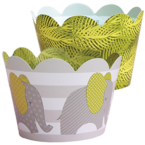 Baby Elephant Cupcake Wrappers, Green and Gray, Tropical Jungle, Confetti Couture Party Supplies, 36 wraps