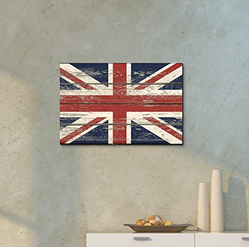 Flag of UK Union Jack on Vintage Wood Board Background Stretched
