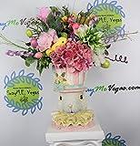 Girl Bunny Head Floral Centerpiece, Spring Floral Arrangement, Bunny Centerpiece, Easter Decor, Bunny Decor, Bunny Floral Arrangement