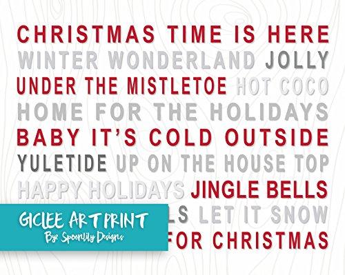 Christmas Subway Sign Typography Poster, Christmas Mantle Decor