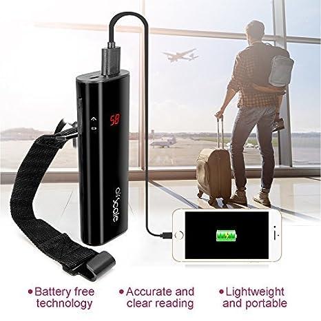 Oaxis airscale Digital Equipaje Escala con 6500 mAh Carga rápida de batería Power Bank (LG Celdas), portátil de Mano Viaje Escala Equipaje LCD Colgante ...
