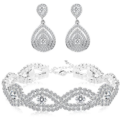 Finrezio Bridal Wedding Jewelry Set for Women Bracelets Dangle Teardrop Earrings Set Made of Clear Crystals