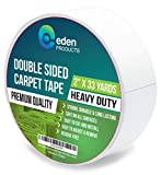EdenProducts Premium Double Sided Carpet Tape (2 Inch x 33 Yards) for Area Rugs, Mats and Carpets - Heavy Duty, Industrial Strength, Non-Skid, Wood Safe & Residue Free - Indoors & Outdoors