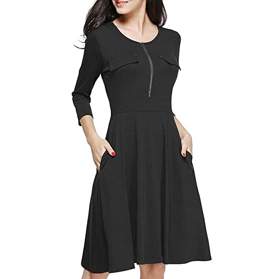 Damark(TM) Vestidos Mujer Solid Color Zipper Vestido de Largo Maxi ...