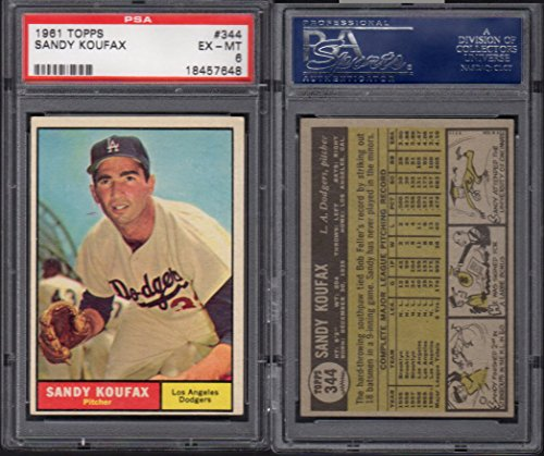 1961 Topps Regular (Baseball) Card# 344 Sandy Koufax (psa) of the Los Angeles Dodgers ExMt Condition