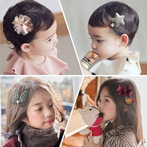 18pcs Toddler Girl Hair Clips Baby Kids Bowknot Barrette Hair Band Birthday Gift (Deep Pink) by handrong (Image #5)