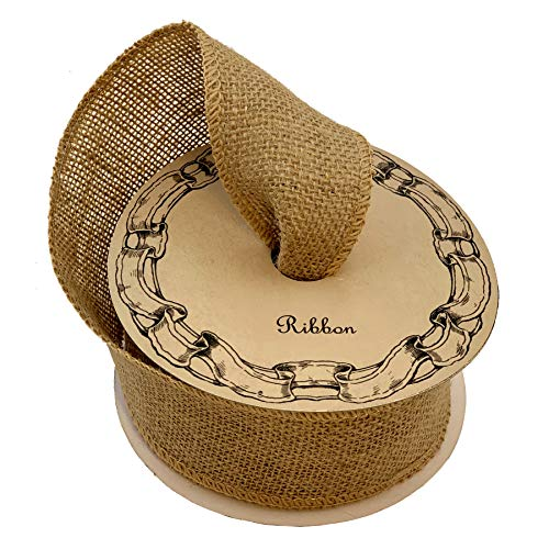 """Fabric Burlap Woven Ribbon - 2 1/2"""" x 10 Yards, Christmas Tree Ribbon for Crafts, Rustic Jute Wedding Embellishments, Natural Color, Holiday Decor, Wreaths, Garlands, Swags, Vintage"""