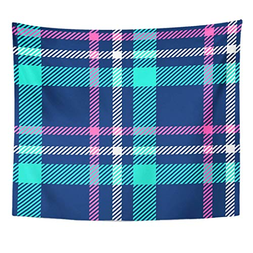 Tapestry Blue Check Plaid Pink Ribbon Bedclothes Breakfast Casual Home Decor Wall Hanging for Living Room Bedroom Dorm 50x60 inches -