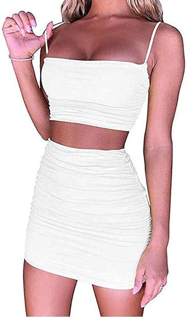 Dos Piezas Mujer Conjunto de Top y Falda Mujeres Bodycon Trajes Camisetas Sin Mangas Sexy Crop Tops Faldas Cortas Elásticas Bodycon Casual Mini Faldas Sexy Conjunto de Traje Mujer Outfits