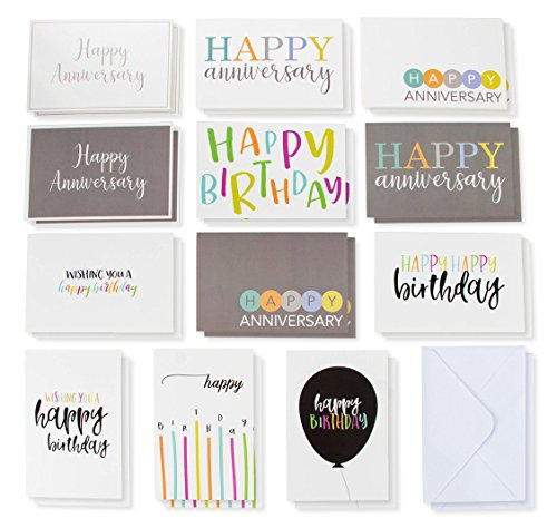 Company Birthday Cards (120-Pack Happy Birthday Cards and Happy Anniversary Cards - Includes 6 Colorful Birthday Designs, 6 Anniversary Designs, 10 of Each, Bulk Box Set Variety Pack with Envelopes Included, 4 x)