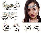 4 Pcs Womens Festival Face Jewels Stick on Gems Rhinestone Body Tattoo Sticker