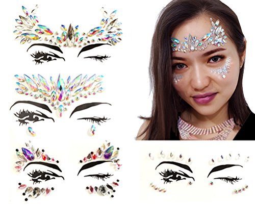 4 Pcs Womens Festival Face Jewels Stick on Gems Rhinestone Body Tattoo Sticker by MayFee