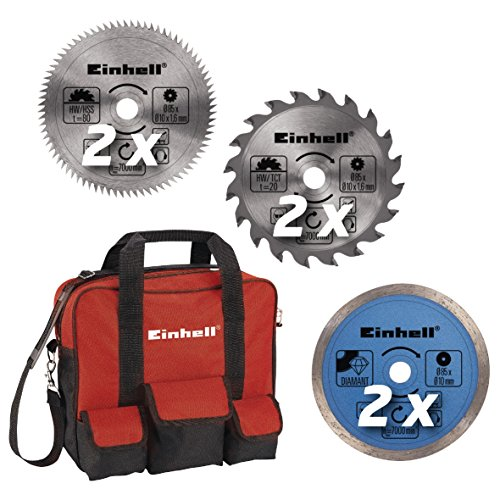 Einhell TC-CS 860/2 Kit Mini Circular Saw with Robust Blades and Tool Bag - Red