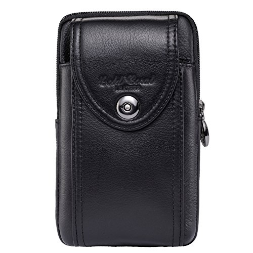 Men Genuine Leather Cellphone Waist Bag Purse Wallet Belt Loop Holster Case (Iphone 4 Case Pistol)