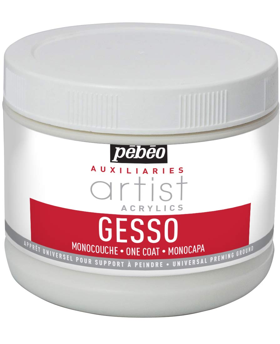 Pebeo Artist Acrylics Auxiliaries One Coat Gesso, 500-Milliliter