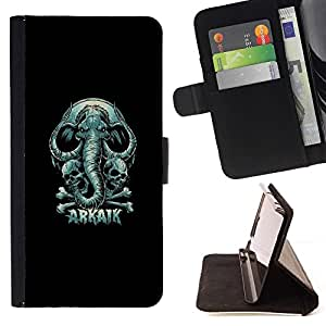 Momo Phone Case / Flip Funda de Cuero Case Cover - Arkaik - Skull & Elephant - HTC Desire 820