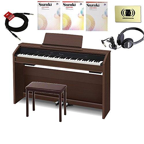 Casio Privia PX-860BN 88-Key Digital Piano Bundle with Headphones,Bench, Cables, Cloth, Book Vol 1-3