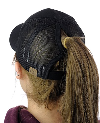 C.C Ponycap Messy High Bun Ponytail Adjustable Mesh Trucker Baseball Cap Hat, Black