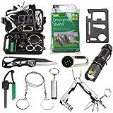 traveling gear - Survival Kit EMDMAK Outdoor Emergency Gear Kit with Emergency Survival Tent for Camping Hiking Travelling or Adventures (New Black 2)