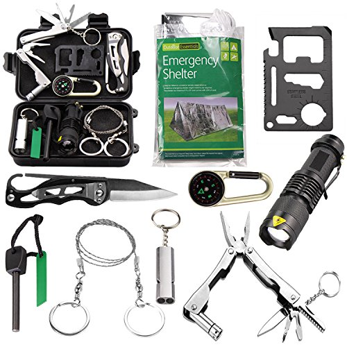 Survival Kit EMDMAK Outdoor Emergency Gear Kit with Emergency Survival Tent for Camping Hiking Travelling or Adventures (New Black 2)