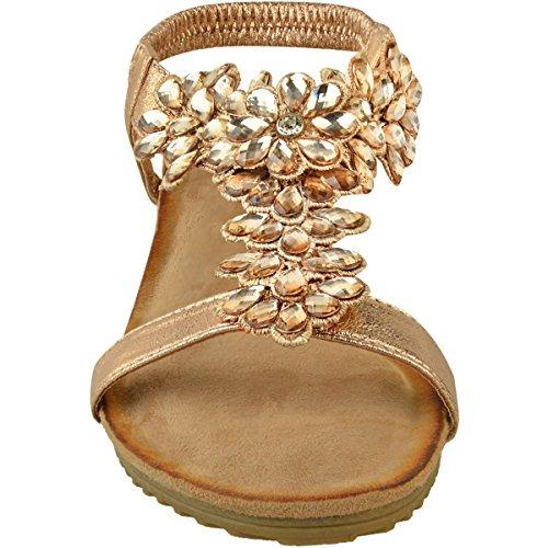 Compensés Mariage Strass Talons Chaussures à Fête Doré Femme Bas Métallisé Heelberry® Rose TqI68wS
