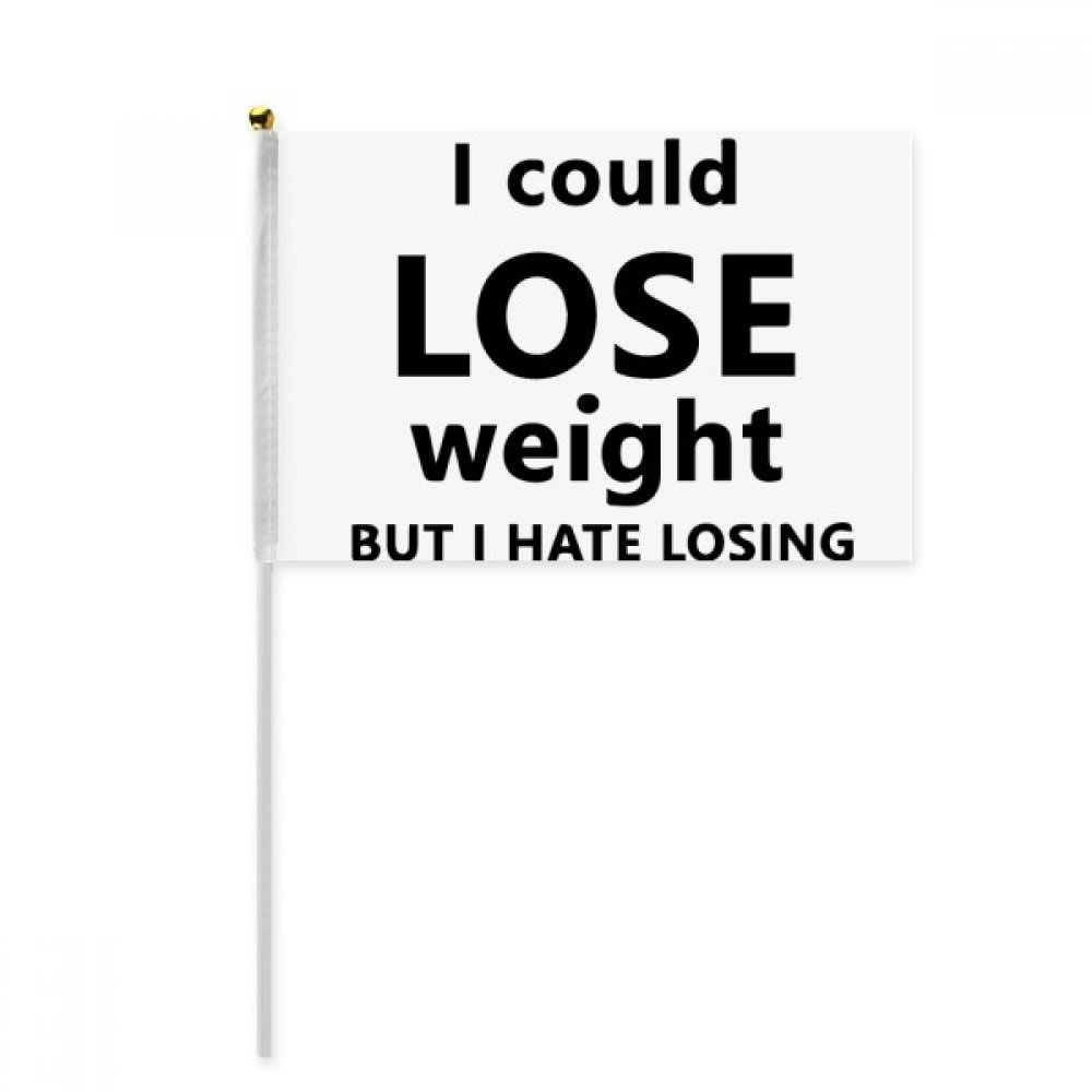 Black English Lose Weight Quote Hand Waving Flag 8x5 inch Polyester Sport Event Procession Parade 4pcs