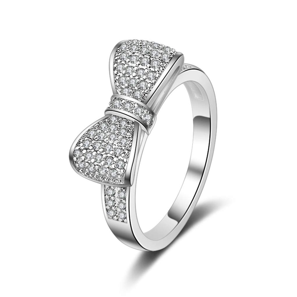 FENDINA 18k White Gold Plated White Cubic Zirconia CZ Band Bow Ring Fashion Women Jewelry, Gifts for Graduation by FENDINA (Image #1)