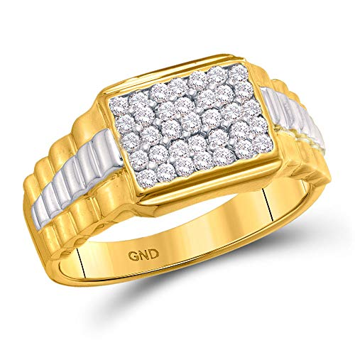 Dazzlingrock Collection 10kt Yellow Gold Mens Round Diamond Rectangle Cluster Ribbed Two-tone Ring 1/2 Cttw