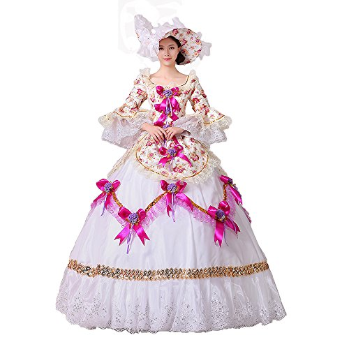 Women Floral Printed Marie Antoinette Masquerade Dresses Renaissance Southern Belle Victorian Ball Gowns Theatrical Clothing (XL, Pink) Southern Belle Ball Gown