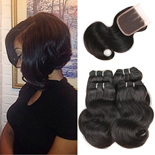 Fine Plus 3 Part Lace Closure Body Wave with 7a Brazilian Virgin Hair 4 Bundles 8 Inch Short Brazilian Body Wave Human Hair Weave 50g/bundle with 4x4 Top Lace - Order Express Status