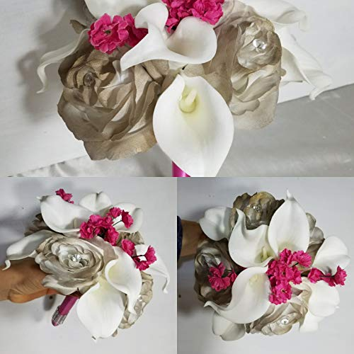 Champagne Fuchsia Rose Calla Lily Bridal Wedding Bouquet & Boutonniere