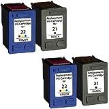 Prestige Cartridge HP 21XL / HP 22XL Lot de 4 Cartouches d'encre compatible avec Imprimante Deskjet F2110, F2120, F2128, F2140, F2180, F2185, F2187, F2188, F2200, F2210, F2212, F2214, F2224, F2250, F2275, F2280, F2290, F300, F310, F325, F335, F340, F350, F370, F375, F380, F390, F394, F4135, F4140, F4180, D1320, D1330, D1341, D1360, D1420, D1430, D1445, D1455, D1520, D1530, D1560, D1568, D2320, D2330, D2345, D2360, D2368, D2400, D2430, D2445, D2460, D1560, D2330, D2360, Noir/Couleur